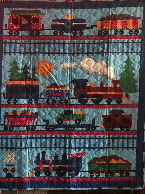 Quilted Train Crib Quilt