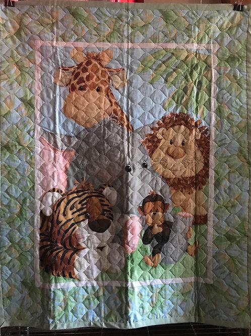Quilted Safari Crib Quilt