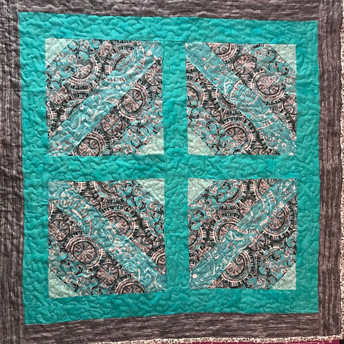 Teal and Gray Quilted Wallhanging