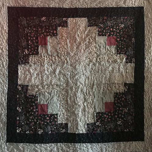 Black and Cream Log Cabin Wallhanging