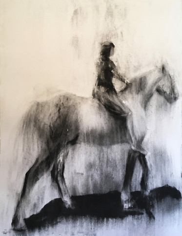 VIR OULAAS SOOS LETTIE 2017 Charcoal on cotton paper 100 x 70cm
