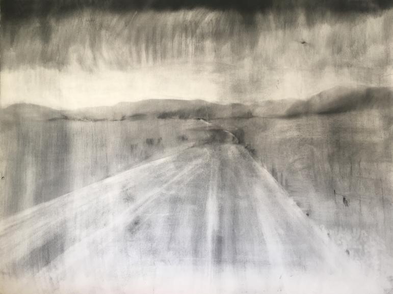 WAAR JY ORAL NÊRENS HEEN RY  2019 Charcoal on cotton paper 76 x 110cm
