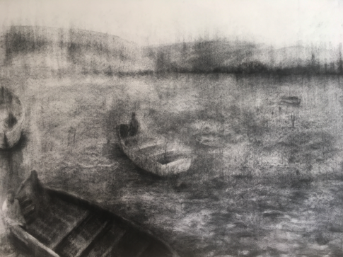 ADRIFT 2018 Charcoal on cotton paper 70 x 100cm