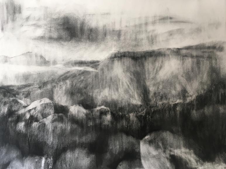 TEVREDE 2019 Charcoal on cotton paper 101 x 124cm