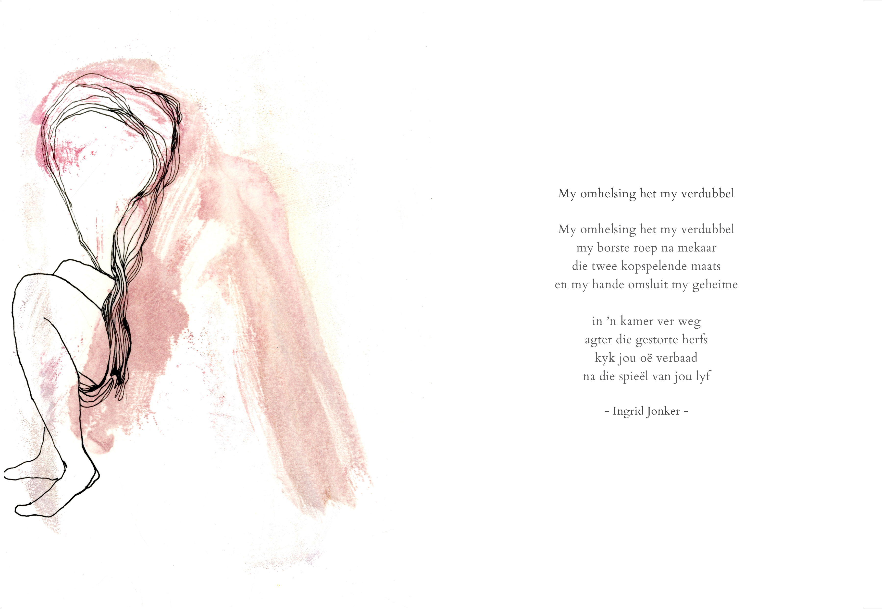My omhelsing het my verdubbel_monoprint and ink on paper