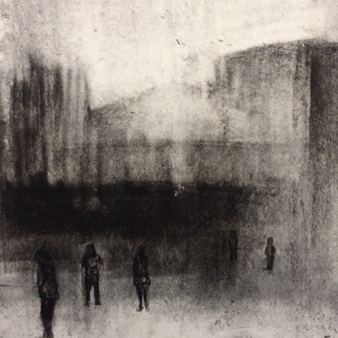 OF BRUTALIST ARCHITECTURE 2017 Charcoal on cotton paper