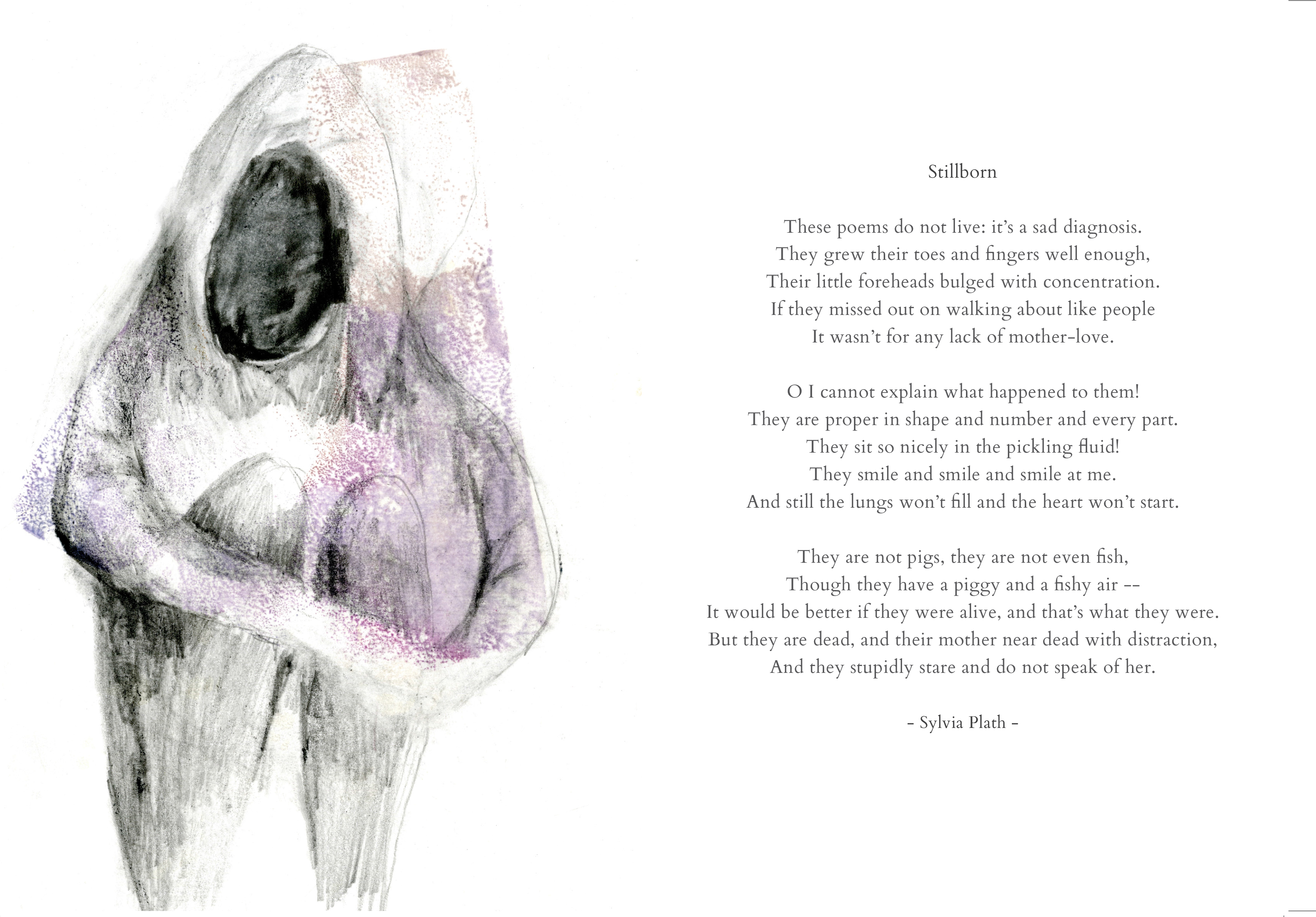 Still born_Monoprint and graphite on paper