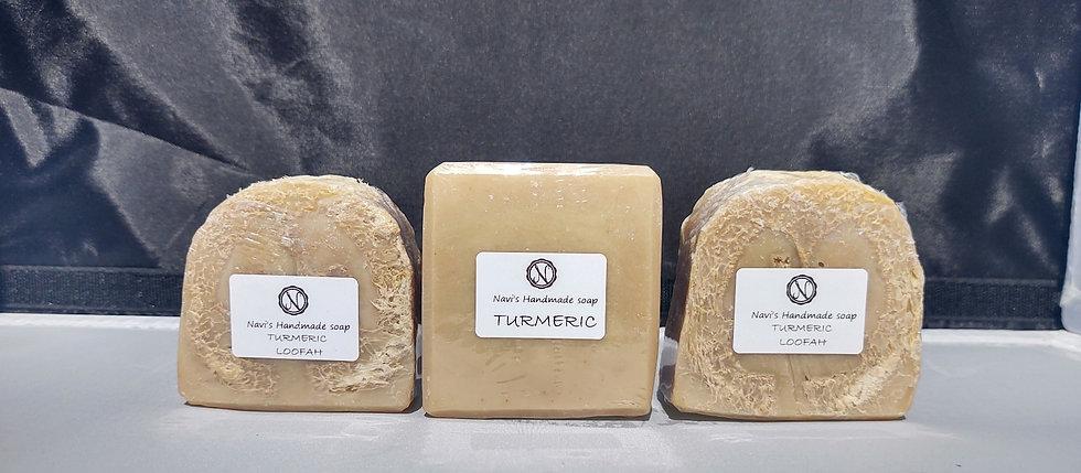 Turmeric soap, plain or with loofah