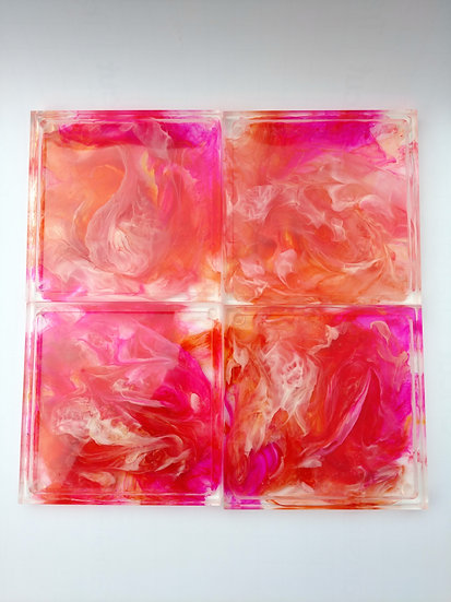 """Resin Coaster set """"Pink and Peach Flow"""""""