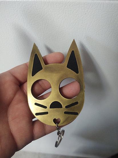 Cat keychain  brass