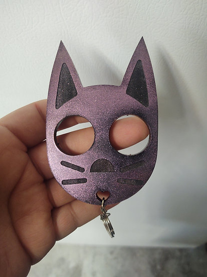 Cat keychain  color shift green/gold/purple