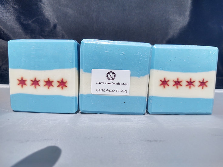 Chicago Flag handmade soap- light floral scent