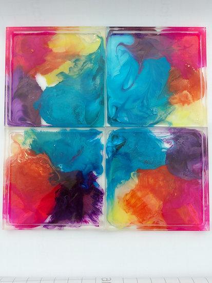 "Resin Coaster set "" Color Storm"""