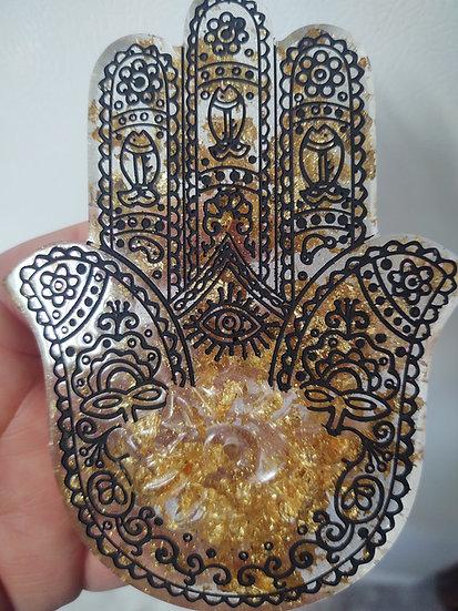 Hamsa hand incense holder clear with gold leaf
