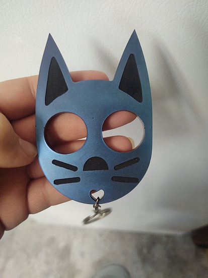 Cat keychain  color shift blue/purple