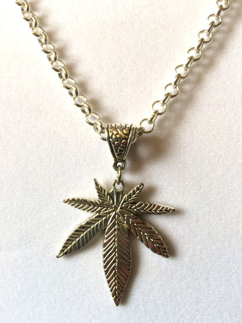 Cannabis Leaf Necklace SILVER w/ Long Chain