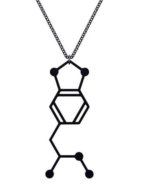 Mdma Molecule necklace in Black & Silver
