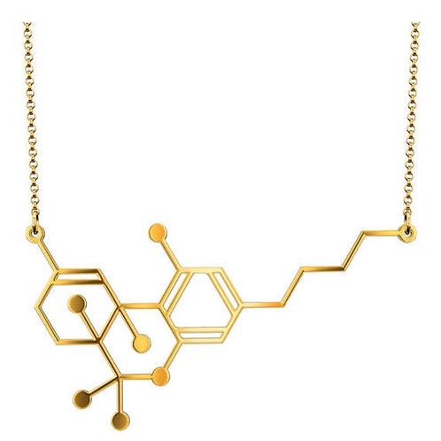 THC Molecule Necklace GOLD