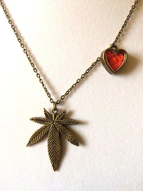 Cannabis Leaf Necklace BRONZE