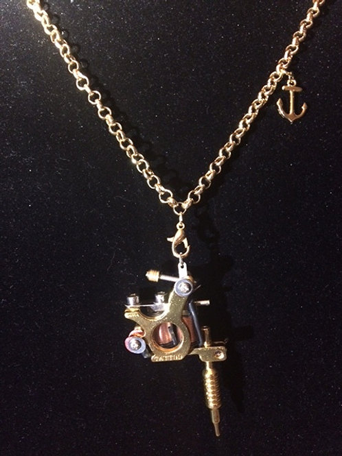 Gold Tattoo Gun Necklace / Custom