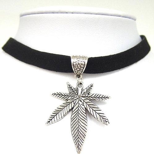 Silver Cannabis Leaf on Velvet Choker