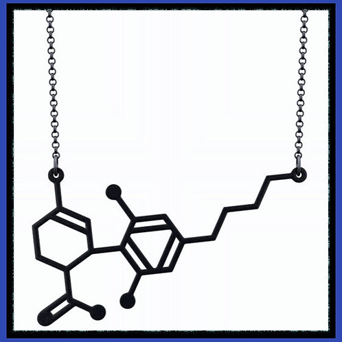 CBD Molecule necklace in Silver, Gold & Black (limited quantities)