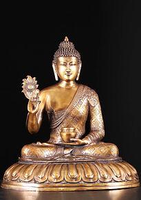 Brass-Indian-Buddha Holding Flower Alms