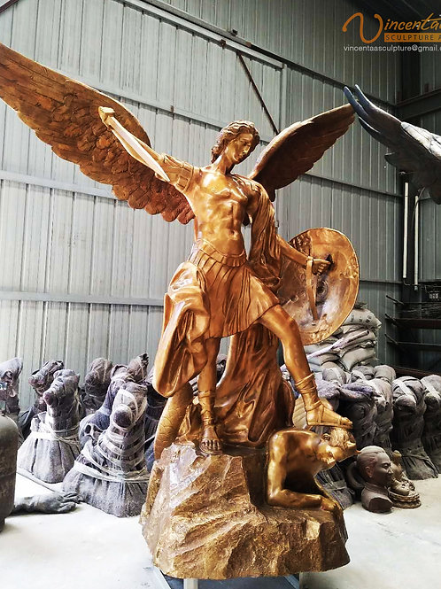 Bronze Archangel Michael Crushing Satan Statue