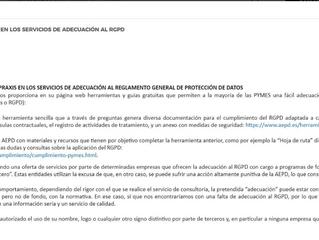 Aviso de la AEPD acerca de las supuestas adaptaciones a Coste Cero