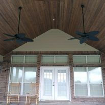 Patio Cover,  Concrete, Outdoor design, Ceilings Fans, Outdoor Kitchen, Beadboard Ceiling