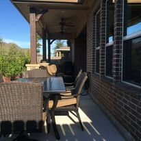 Patio Cover,  Concrete, Outdoor design, Ceilings Fans, Recessed lights, Outdoor Kitchen