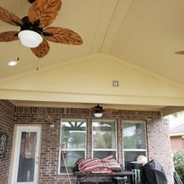 Patio Cover,  Concrete, Outdoor design, Ceilings, Outdoor  Fan