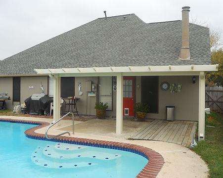 A Patio Cover, Outdoor Kitchen, Concrete Stamp  Aluminum patio covers, Patio Screen enclosure, Enclosure screen Screen enclosure patio
