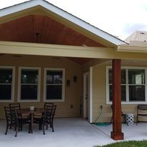 Patio Cover, Concrete stamped and stained,
