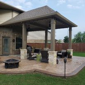 A Patio Cover, Outdoor Kitchen, Concrete Stamp, Firepits