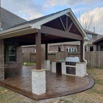Patio Cover,  Concrete, Outdoor design, Outdoor Kitchen,Ceilings Fans