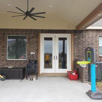 Patio Cover, French Doors,  Concrete, Outdoor design, Ceilings Fans
