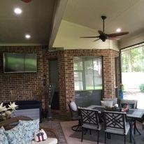 Patio Cover,  Concrete, Outdoor design, Ceilings Fan, Lights