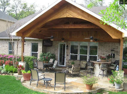 A Patio Cover, Outdoor Kitchen, Concrete Stamp