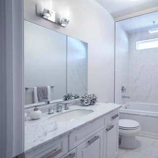 Custom built home clean contemporary bathroom