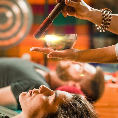 Tibetan singing bowl in sound therapy.jp