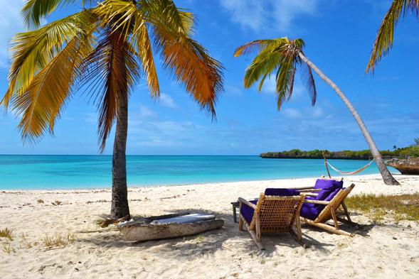 Tanzania Fanjove Island beach & sun loungers