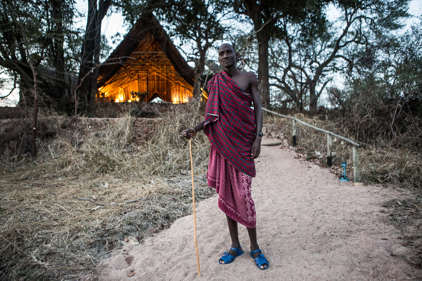 Masai Guards Escort Guests to thier tents in Jongomero, Ruaha