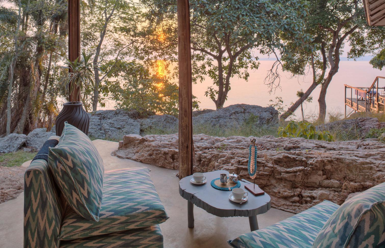 Lounge Area Sunrise Rubondo Chimp Island