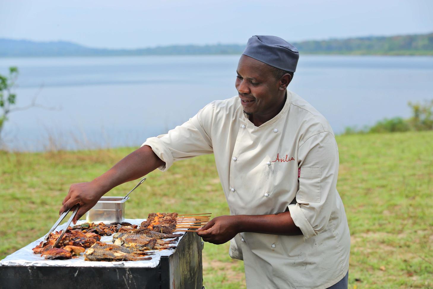 Rubondo Island Live Cooking Overlooking Lake Victoria on Rubondo Island Tanzania