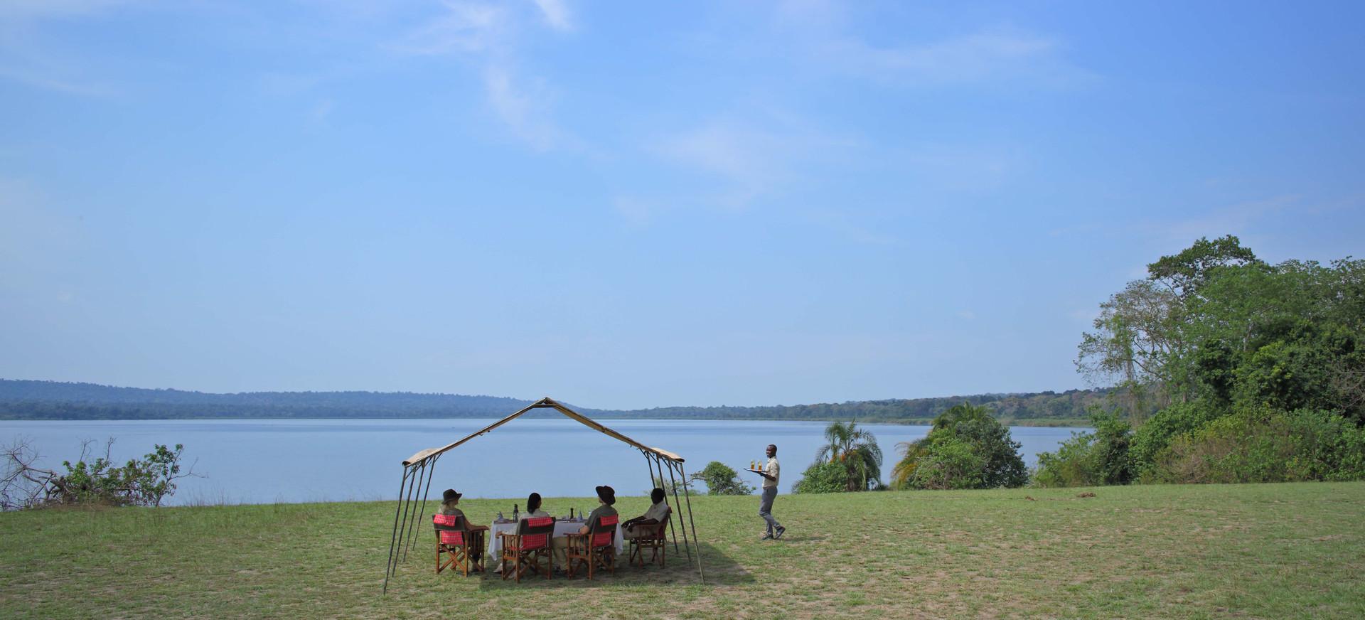 Lunch at Lake Victoria Rubondo Island Tanzania