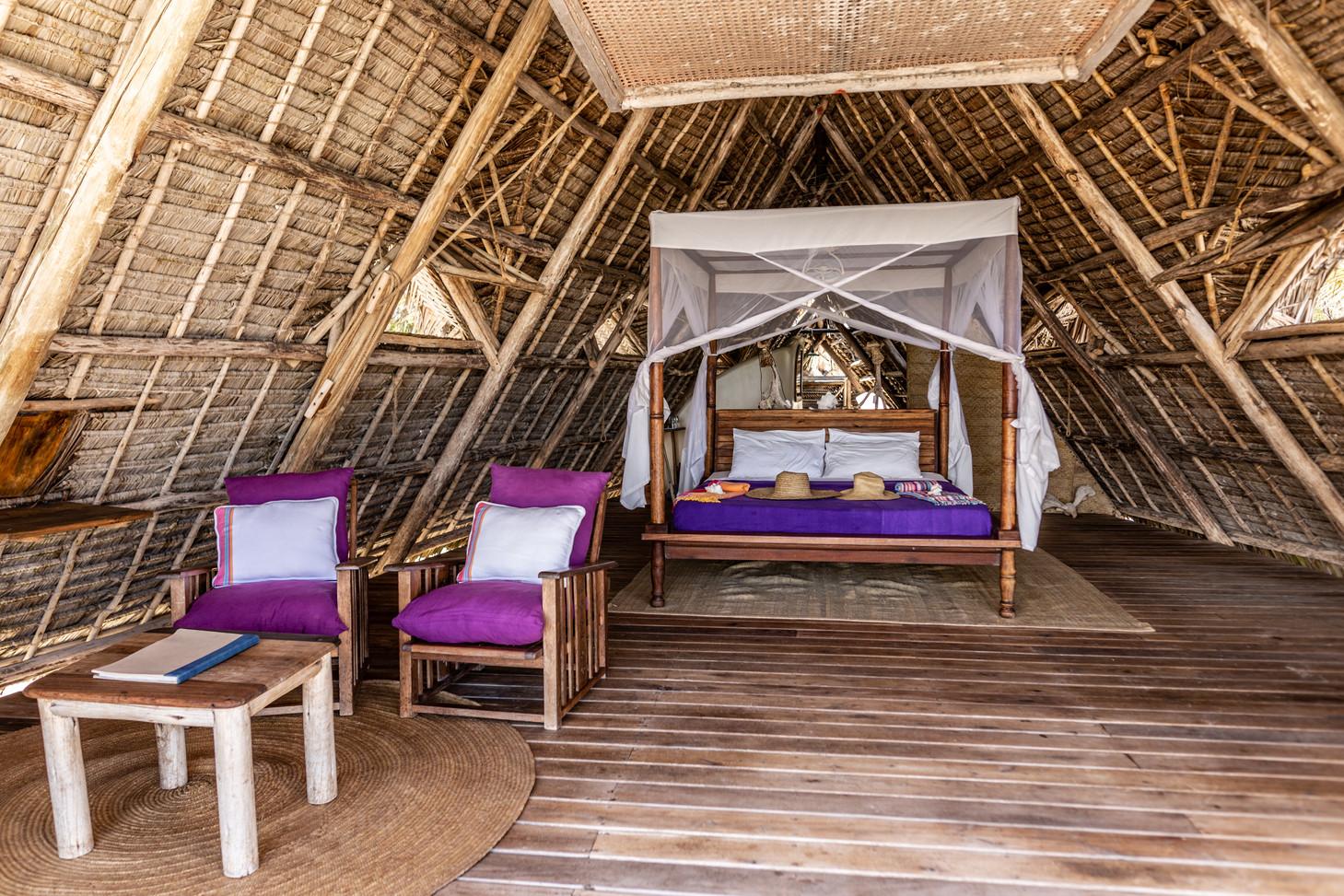 Tanzania Fanjove Island Banda bedroom