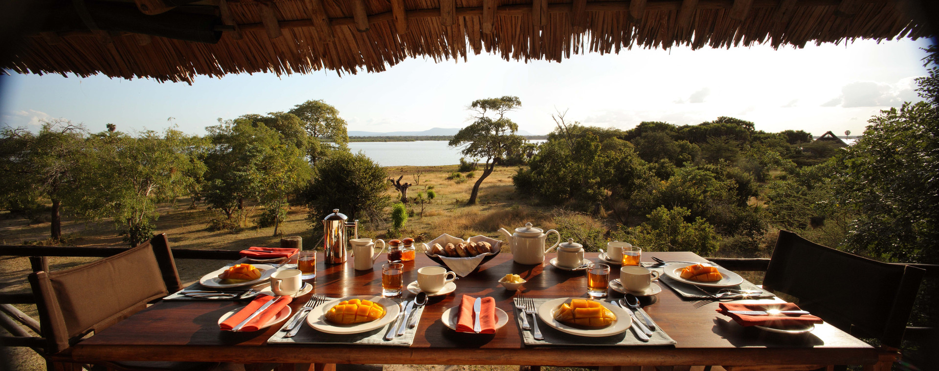 Breakfast with a view at Siwandu's elevated Restaurant, Nyerere, Selous