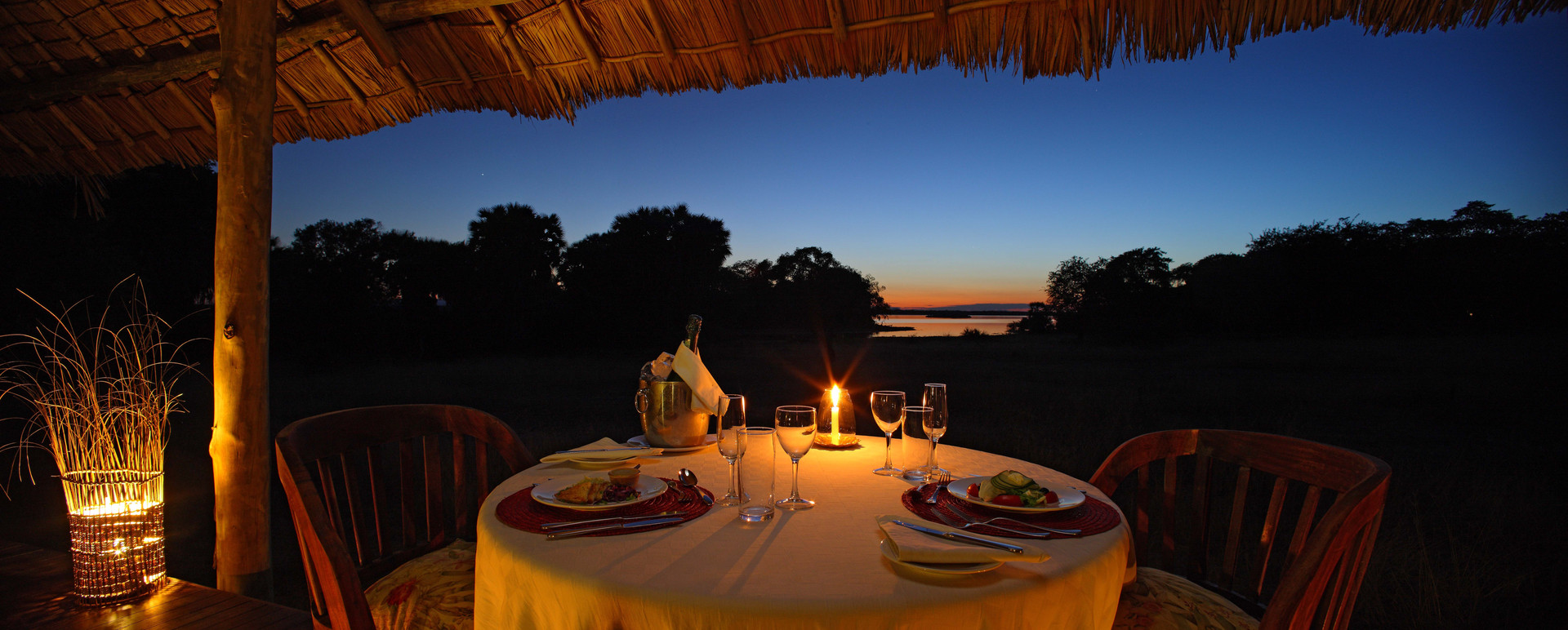 Private dining at Siwandu, Nyerere, Selous