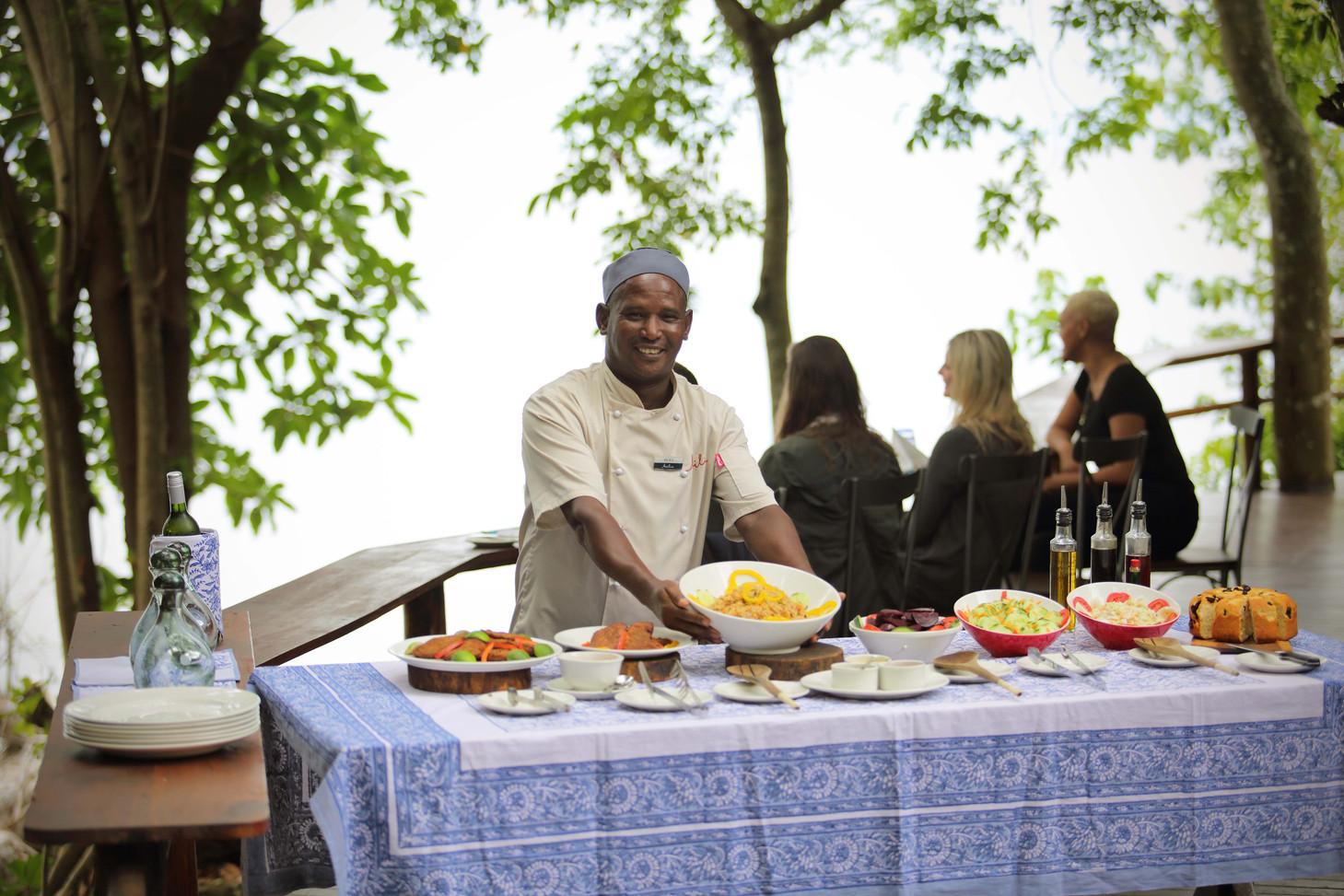 Lunch at Rubondo Chimp Island Tanzania